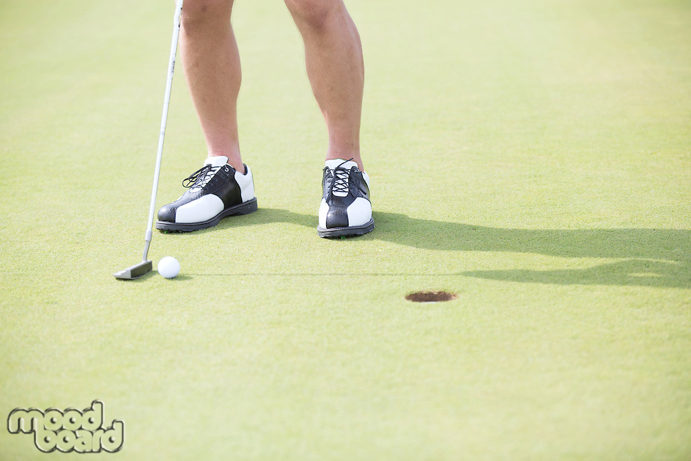Low section of man with golf club and ball