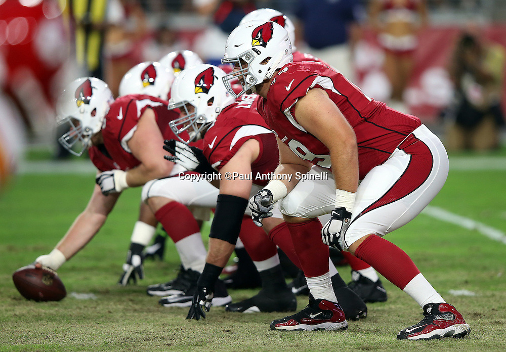 The Arizona Cardinals get set for the snap at the line of scrimmage on special teams punt coverage during the 2015 NFL preseason football game against the Kansas City Chiefs on Saturday, Aug. 15, 2015 in Glendale, Ariz. The Chiefs won the game 34-19. (©Paul Anthony Spinelli)