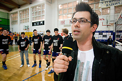 Gregor Peternel of SPORT TV at final ceremony at final match of Slovenian National Volleyball Championships between ACH Volley Bled and Salonit Anhovo, on April 24, 2010, in Radovljica, Slovenia. ACH Volley defeated Salonit 3rd time in 3 Rounds and became Slovenian National Champion.  (Photo by Vid Ponikvar / Sportida)