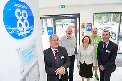 Pictured is, from left, Lincolnshire Co-operative president Steve Hughes, Lincolnshire Co-operative superintendent pharmacist Alastair Farquhar, Lincolnshire Co-operative chief executive Ursula Lidbetter, Simon Forrest, deputy director of outreach at Scunthorpe branch of The Samaritans and Councillor Rob Waltham, leader of North Lincolnshire Council.<br /> <br /> <br /> Celebration event to mark the opening of the new Lincolnshire Co-operative Westcliffe Pharmacy in Scunthorpe.<br /> <br /> Picture: Chris Vaughan Photography for Lincolnshire Co-operative<br /> Date: August 3, 2018