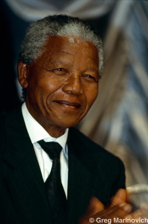 Johannesburg, South Africa 1994. ANC leader Nelson Mandela addresses a meeting in Johannesburg, South Africa.
