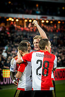 ROTTERDAM - Feyenoord - SC Cambuur , Voetbal , Seizoen 2015/2016 , Eredivisie , Feijenoord Stadion De Kuip , 06-03-2016 , Spelers van Feyenoord vieren 3-1