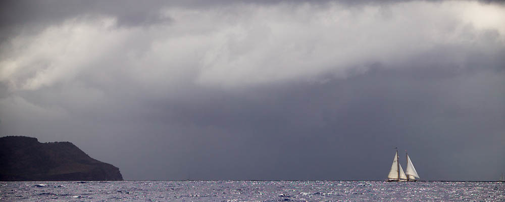 In a squall at the Antigua Classic Yacht Regatta