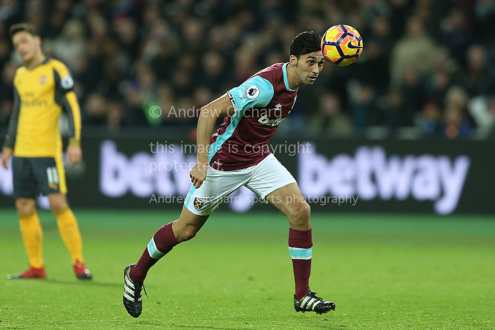 Alvaro Arbeloa of West Ham United in action. Premier league match, West Ham Utd v Arsenal at the London Stadium, Queen Elizabeth Olympic Park in London on Saturday 3rd December 2016.<br /> pic by John Patrick Fletcher, Andrew Orchard sports photography.