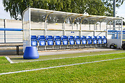 A general view of the Leeds United dugout and Leeds United Manager Marcelo Bielsa famous bucket before the Pre-Season Friendly match between Guiseley  and Leeds United at Nethermoor Park, Guiseley, United Kingdom on 11 July 2019.