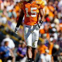 Oct 2, 2010; Baton Rouge, LA, USA;Tennessee Volunteers cornerback Janzen Jackson (15) on the field during the first half against the LSU Tigers at Tiger Stadium.  Mandatory Credit: Derick E. Hingle