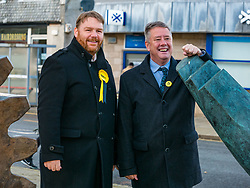 Pictured; SNP Depute Leader Keith Brown MSP joins Owen Thompson, SNP candidate for Midlothian<br /> <br /> Loanhead, Midlothian, Scotland, United Kingdom, 18 November 2019. General Election campaigning:  SNP Depute Leader Keith Brown MSP joins Owen Thomson, SNP candidate for Midlothian, on the campaign trail at Fountain Green, Loanhead.<br /> Sally Anderson | EdinburghElitemedia.co.uk