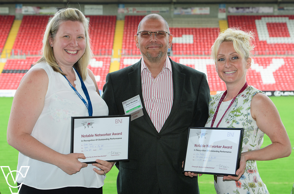 BNI Apollo chapter president Simon Meadows (Sterling Business Coaching), centre, presents the May 2017 notable networker certificates to Colette Spence (Spence Accounting), left, and Clare Fordyce (Starkey&amp;Brown).  Colette was awarded her notable networker certificate for the highest thank you for the business in May, while Clare passed the highest number of external referrals in the month.<br /> <br /> Picture: Chris Vaughan Photography<br /> Date: June 1, 2017