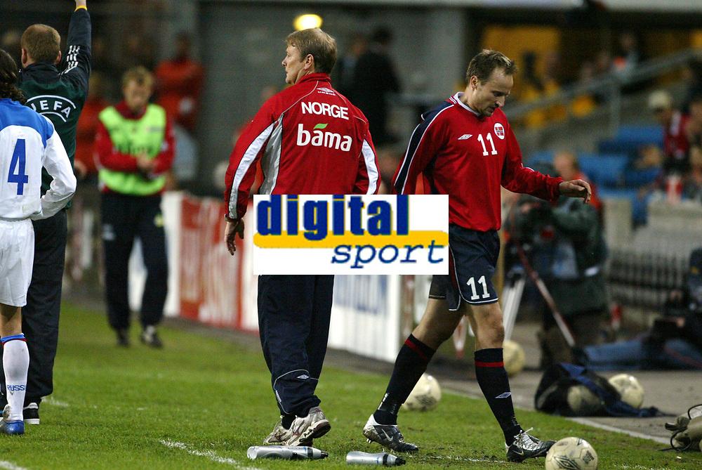 Fotball, 28. april 2004, Privatlandskamp, Norge-Russland 3-2, Åge Hareide og Sigurd Rushfeldt, Norge