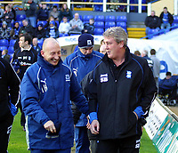 Photo: Dave Linney.<br />Birmingham City v Plymouth Argyle. Coca Cola Championship. 02/12/2006.Bham City Boss  Steve Bruce(R) shares a joke with  Ian Holloway before the game today.