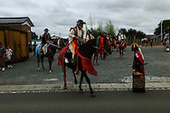 Participants of Nomaoi Festival leaving the gathering point at Minamisoma