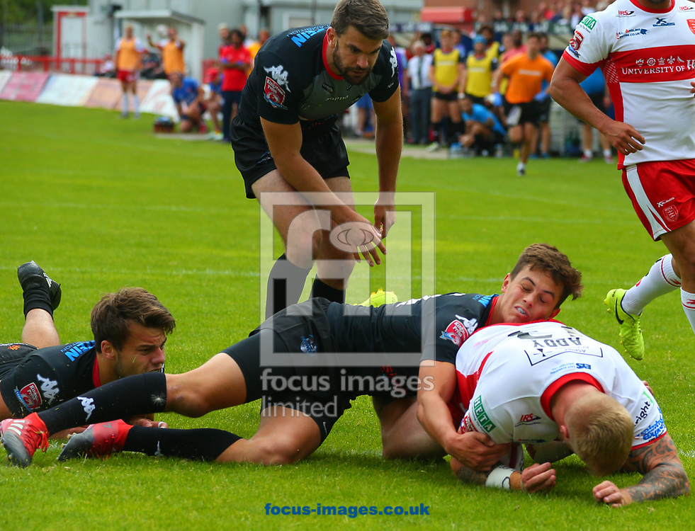 Danny Addy of Hull Kingston Rovers scores the try against London Broncos during the Super 8's Qualifiers match at Craven Park, Hull<br /> Picture by Stephen Gaunt/Focus Images Ltd +447904 833202<br /> 20/08/2017