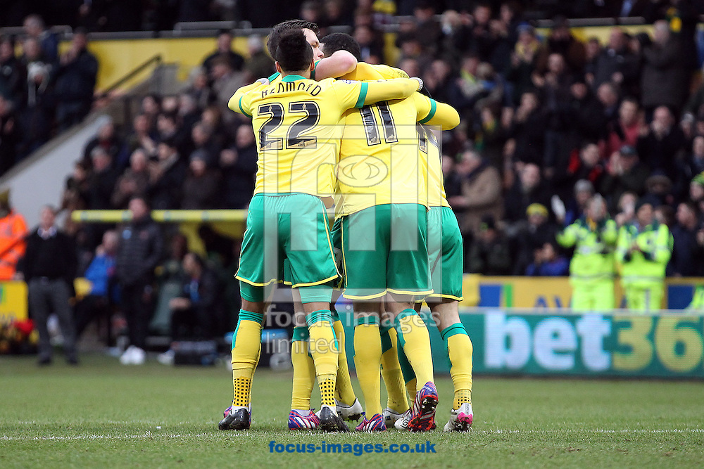 Gary Hooper of Norwich celebrates scoring his sides 2nd goal during the Sky Bet Championship match at Carrow Road, Norwich<br /> Picture by Paul Chesterton/Focus Images Ltd +44 7904 640267<br /> 07/02/2015