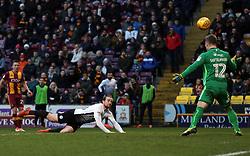Jack Marriott of Peterborough United scores his sides second goal past Rouven Sattelmaier of Bradford City - Mandatory by-line: Joe Dent/JMP - 26/12/2017 - FOOTBALL - Northern Commercials Stadium - Bradford, England - Bradford City v Peterborough United - Sky Bet League One