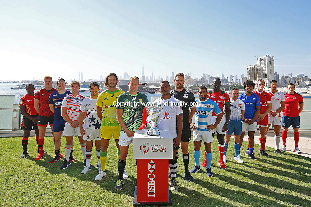 The 16 mens captains gather ahead of the first round of the 2016/17 World Rugby HSBC Sevens Series in Dubai held 2- 3 December 2016.<br /> 1 December 2016.<br /> Photo: worldrugby.org