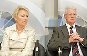 Christopher Tappin (with wife)<br /> Press Conference<br /> London, Great Britain <br /> 17th August 2010 <br /> <br /> Christopher Tappin is a retired British businessman and president of Kent County Golf Union.<br /> <br /> He was accused of selling batteries to be used in Iranian surface-to-air missiles.<br /> <br /> He denied the allegations, claiming he believed the batteries were to be used in the automotive industry and he had been &quot;the victim of unlawful conduct by US agents&quot;.<br /> <br /> He is alleged to have tried to buy five Eagle Pitcher brand batteries which he claims he thought were for use in the car industry between December 2005 and January 2007. The batteries are a key component of the US Army&rsquo;s Hawk Air Defence Missile.<br /> <br /> In January 2012 he was lost an appeal against extradition to the USA under the Extradition Act 2003.<br /> <br /> <br /> Photograph by Elliott Franks