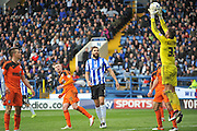 Ipswich Town goalkeeper Bartosz Bialkowski (33) claims the ball in the final minute during the Sky Bet Championship match between Sheffield Wednesday and Ipswich Town at Hillsborough, Sheffield, England on 16 April 2016. Photo by John Marfleet.