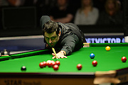 21.02.2016. Cardiff Arena, Cardiff, Wales. Bet Victor Welsh Open Snooker final.  Ronnie O'Sullivan versus Neil Robertson. Ronnie O'Sullivan pots a red.