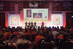 NEWPORT, WALES - Saturday, May 25, 2019: L-R Juan Pablo Angle, Tim Cahill, Djimi Traore and Ian Rush discuss the UEFA Champions League during day two of the Football Association of Wales National Coaches Conference 2019 at the Celtic Manor Resort. (Pic by David Rawcliffe/Propaganda)