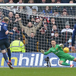 Kyle Lafferty (Hearts) scores from the spot to equalise for Hearts during the Scottish Cup quarter final between Motherwell and Hearts at Fir Park, where the home side made it into the semi final draw with a win.<br /> <br /> (c) Dave Johnston | sportPix.org.uk