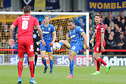 Darius Charles defender for AFC Wimbledon (32) in action during the Sky Bet League 2 match between AFC Wimbledon and Crawley Town at the Cherry Red Records Stadium, Kingston, England on 16 April 2016. Photo by Stuart Butcher.