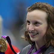 Katie Ledecky, USA, winning the Gold Medal in the Women's 800m Freestyle Final at the Aquatic Centre at Olympic Park,  during the London 2012 Olympic games. London, UK. 3rd August 2012. Photo Tim Clayton