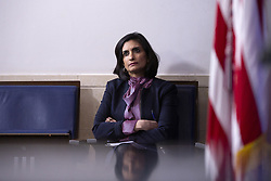 Seema Verma, administrator of the Centers for Medicare and Medicaid Services, listens as United States President Donald J. Trump delivers remarks on the Coronavirus pandemic during a news conference in the James S. Brady Press Briefing room at the White House in Washington D.C., U.S., on Sunday April 19, 2020. Speaker of the United States House of Representatives Nancy Pelosi (Democrat of California) stated that lawmakers are close to a deal with United States Secretary of the Treasury Steven T. Mnuchin regarding a second round of small business loans for businesses impacted by Coronavirus. Credit: Stefani Reynolds / CNP