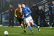 Macclesfield Town defender Corey O'Keeffe in possession of the ball during the EFL Sky Bet League 2 match between Macclesfield Town and Crewe Alexandra at Moss Rose, Macclesfield, United Kingdom on 21 January 2020.