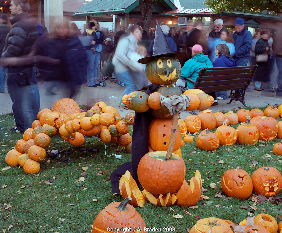 Street scene with witch and Jack o Lanterns, Keene Pumpkin Festival