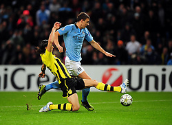 Manchester City's Edin Dzeko sees his shot saved - Photo mandatory by-line: Joe Meredith/JMP  - Tel: Mobile:07966 386802 03/10/2012 - Manchester City v Borussia Dortmund - SPORT - FOOTBALL - Champions League -  Manchester   - Etihad Stadium -