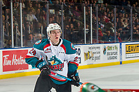 KELOWNA, CANADA - JANUARY 4: Kyle Topping #24 of the Kelowna Rockets skates during the shoot out against the Prince George Cougars on January 4, 2019 at Prospera Place in Kelowna, British Columbia, Canada.  (Photo by Marissa Baecker/Shoot the Breeze)