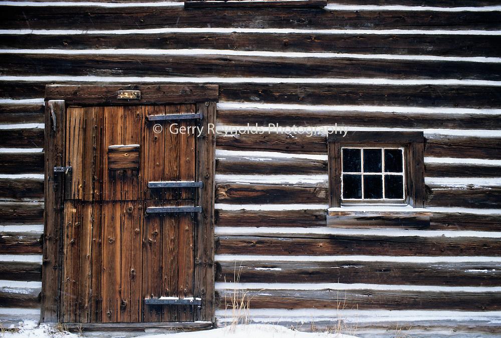 Winter, Log Cabin, Cabin, chinking, Glacier National Park, Montana