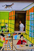 Chine, Hong Kong, Kowloon, Mong Kok, peinture murale d'un restaurant // China, Hong Kong, Kowloon, Mong Kok, wall painting in restaurant