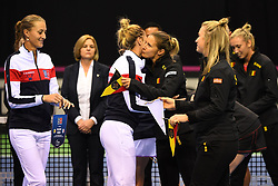 February 9, 2019 - Liege, BELGIQUE - LIEGE, BELGIUM - FEBRUARY 9 : Kristina MLADENOVIC (FRA), Kirsten FLIPKENS (BEL) pictured during the opening ceremony before the World Group First Round Fed Cup Game between Belgium and France on February 09, 2019 in Liege, Belgium, 9/02/2019 (Credit Image: © Panoramic via ZUMA Press)