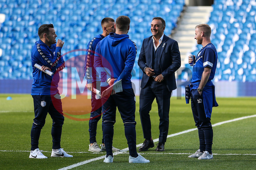 Sheffield Wednesday Manager Carlos Carvalhal jokes with the players before kick off - Mandatory by-line: Jason Brown/JMP - 16/05/2016 - FOOTBALL - Amex Stadium - Brighton, England - Brighton and Hove Albion v Sheffield Wednesday - Sky Bet Championship Play-off Semi-final second leg