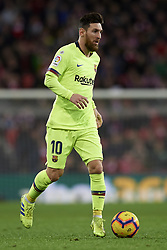 February 10, 2019 - Bilbao, Vizcaya, Spain - Lionel Messi of Barcelona controls the ball during the week 23 of La Liga between Athletic Club and FC Barcelona at San Mames stadium on February 10 2019 in Bilbao, Spain. (Credit Image: © Jose Breton/NurPhoto via ZUMA Press)