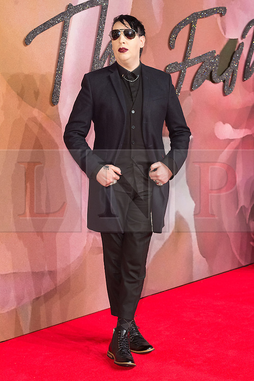 © Licensed to London News Pictures. 05/12/2016. MARILYN MANSON arrives for The Fashion Awards 2016 celebrating the best of British and international fashion. London, UK. Photo credit: Ray Tang/LNP