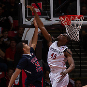 22 February 2017: The San Diego State Aztec's mens basketball team hosts Fresno State Wednesday night. The Aztecs trail 30-23 to the Bulldogs at halftime. www.sdsuaztecphotos.com