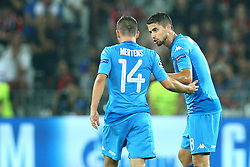 August 22, 2017 - Nice, France - Dries Mertens of Napoli and Jorginho of Napoli  during the UEFA Champions League Qualifying Play-Offs round, second leg match, between OGC Nice and SSC Napoli at Allianz Riviera Stadium on August 22, 2017 in Nice, France. (Credit Image: © Matteo Ciambelli/NurPhoto via ZUMA Press)