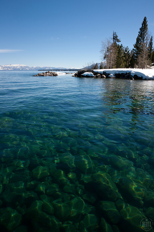 """Kaspian Point, Lake Tahoe 1"" - Photograph of rocks under the clear water of Lake Tahoe at Kapsian Point."