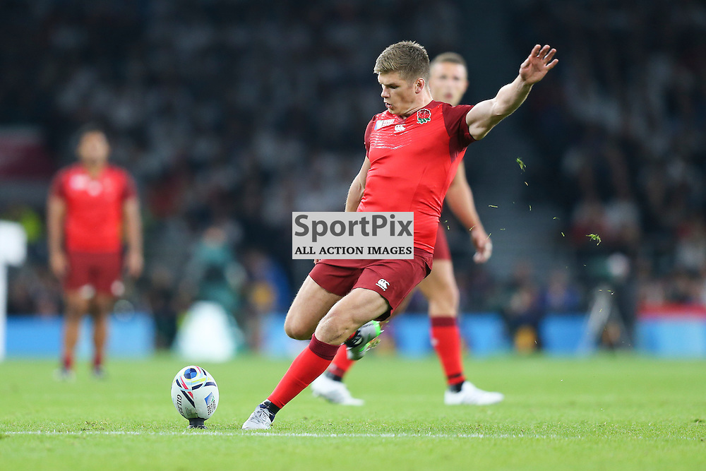TWICKENHAM, ENGLAND - SEPTEMBER 18:  England's replacement Owen Farrell (22) as he converts a try during the opening game of the Rugby World Cup between England and Fiji at Twickenham on September 18, 2015 in London, England. (Credit: SAM TODD | SportPix.org.uk)