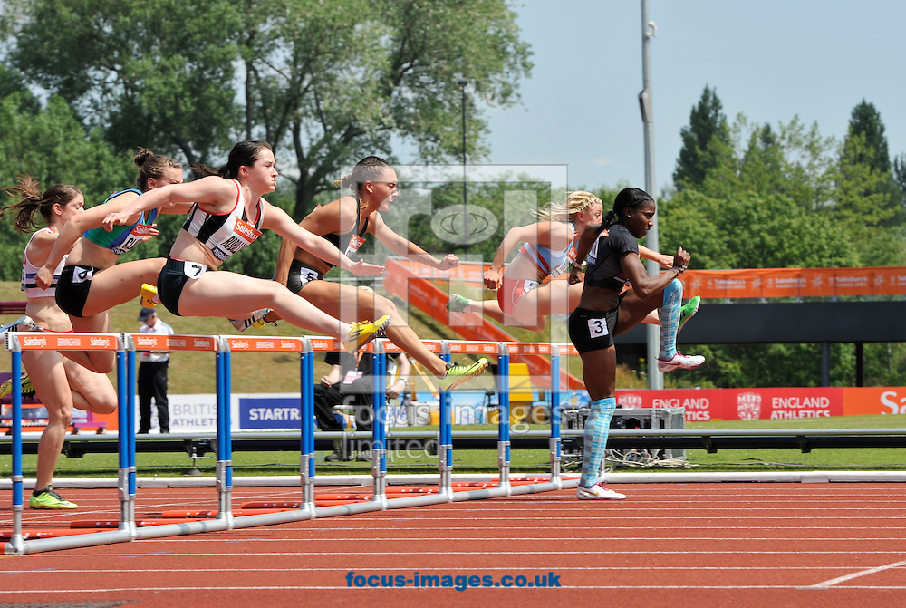Picture by Alan Stanford/Focus Images Ltd +44 7915 056117<br /> 12/07/2013<br /> Winner Serita Solomon (GBR) 100m Hurdles heat pictured during day two of Sainsbury's British Championship at Alexander Stadium, Birmingham.