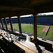 Members of the Boston Cannons and the Charlotte Hounds warm up on the field prior to the game at Harvard Stadium on May 17, 2014 in Boston, Massachuttes. (Photo by Elan Kawesch)