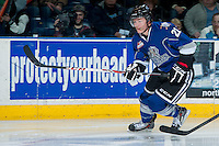 KELOWNA, CANADA -FEBRUARY 8: Austin Carroll #21 of the Victoria Royals skates against the Kelowna Rockets on February 8, 2014 at Prospera Place in Kelowna, British Columbia, Canada.   (Photo by Marissa Baecker/Getty Images)  *** Local Caption *** Austin Carroll;