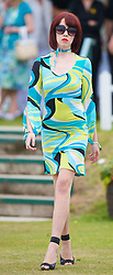 LIVERPOOL, ENGLAND - Saturday, June 20, 2009: Rebecca Jones of John Alexander Model Agency wearing the new Summer/Autumn collection from AllMac Designs during a fashion show on Day Four of the Tradition ICAP Liverpool International Tennis Tournament 2009 at Calderstones Park. (Pic by David Rawcliffe/Propaganda)