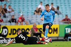 December 15, 2018 - Sydney, NSW, U.S. - SYDNEY, NSW - DECEMBER 15: Sydney FC forward Adam Le Fondre (9) gets past Western Sydney Wanderers defender Brendan Hamill (5) at the Hyundai A-League Round 8 soccer match between Western Sydney Wanderers FC and Sydney FC at ANZ Stadium in NSW, Australia on December 15, 2018. (Photo by Speed Media/Icon Sportswire) (Credit Image: © Speed Media/Icon SMI via ZUMA Press)