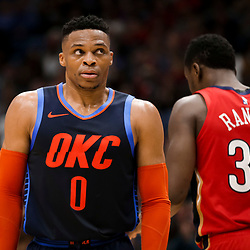 Feb 14, 2019; New Orleans, LA, USA; Oklahoma City Thunder guard Russell Westbrook (0) reacts during the fourth quarter against the New Orleans Pelicans at the Smoothie King Center. Mandatory Credit: Derick E. Hingle-USA TODAY Sports