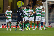 31st October 2018, Kilmac Stadium, Dundee, Scotland; Ladbrokes Premiership football, Dundee v Celtic; Odsonne Edouard of Celtic is congratulated after scoring for 4-0 in the 45th minute