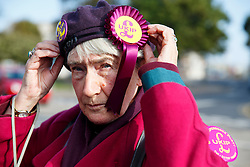 © Licensed to London News Pictures. 09/10/2014. Clacton, UK. UKIP supporters campaigning outside UKIP campaign office in Clacton-on-Sea during the by-election on Thursday, 9 October, 2014. Photo credit : Tolga Akmen/LNP