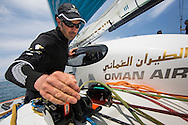 Oman Air MOD70 - Musandam. <br /> Pictures of Damian Foxall (IRL) training onboard the MOD70 prior to the start of the Route des Princes race later this week.